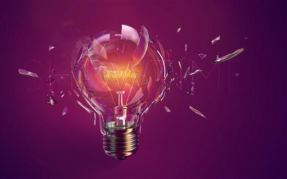 Wallpaper Bulb, broken, glass, creative picture