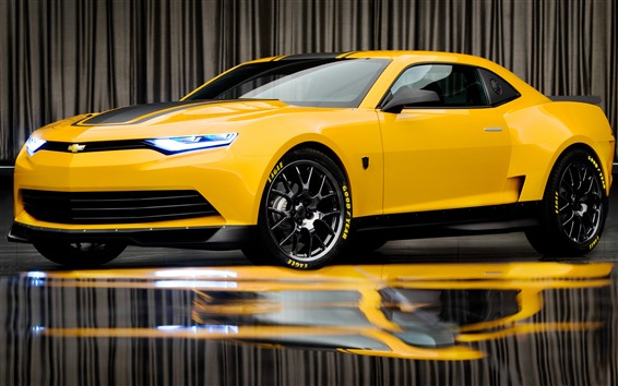 Wallpaper Chevrolet yellow supercar, bumblebee