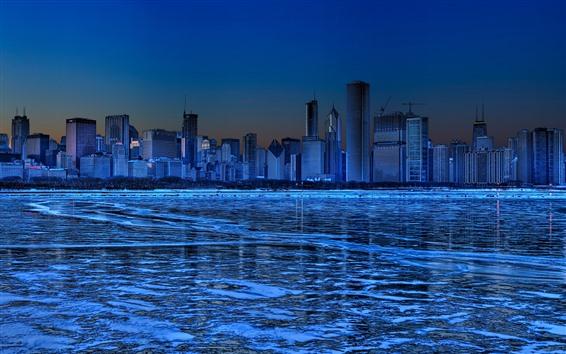 Papéis de Parede Chicago, arranha-céus, gelo, rio, inverno, noite, azul, imagem criativa