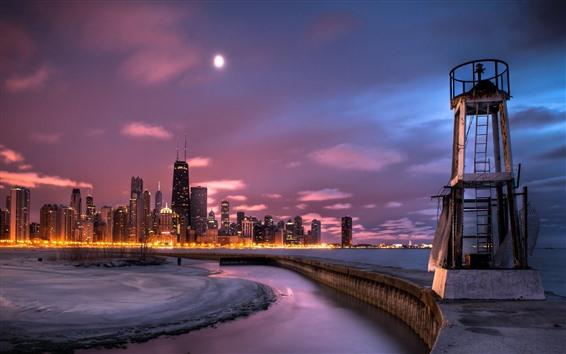 Fondos de pantalla Ciudad, noche, rascacielos, nubes, costa