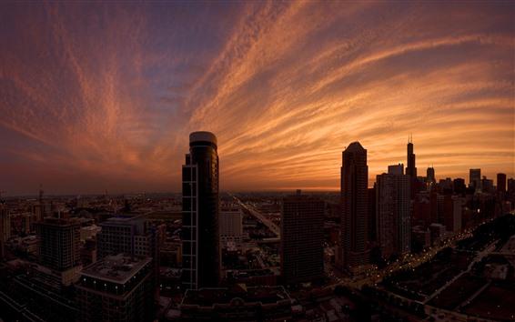 Wallpaper City, skyscrapers, dusk, clouds, sky