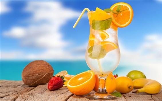 Fond d'écran Cocktail, tasse en verre, oranges, fraise, banane