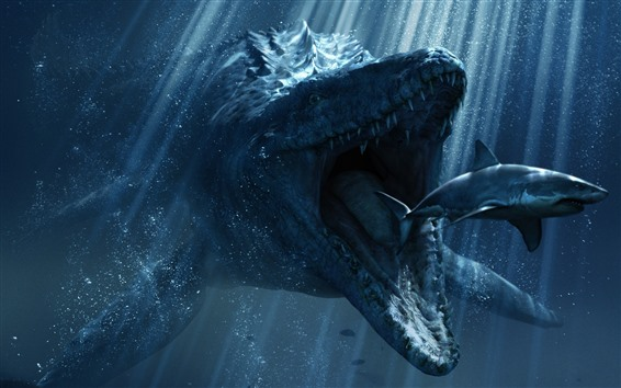 Wallpaper Dinosaur want hunt shark, underwater, creative picture