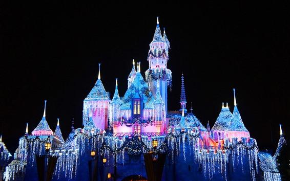 Wallpaper Disneyland, beautiful castle, colorful lights, night