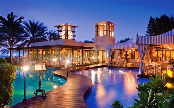 Fond d'écran Dubaï, station, piscine, lumières, nuit