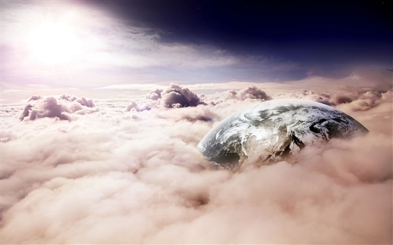Wallpaper Earth, thick clouds, sun, creative picture