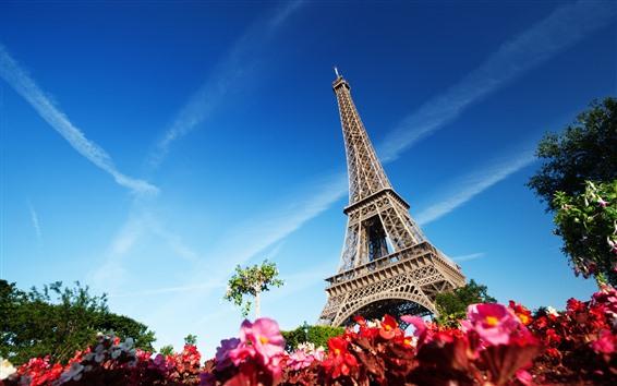 Papéis de Parede Torre Eiffel, céu azul, França