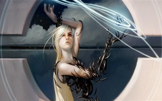 Wallpaper Fantasy girl, blonde, magic, art picture
