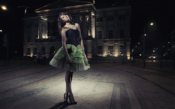 Wallpaper Fashion girl, green skirt, night, city