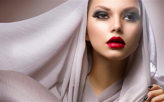 배경 화면 패션 소녀, 붉은 입술, 베일