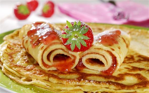 배경 화면 음식, 팬케이크, 딸기, 꿀
