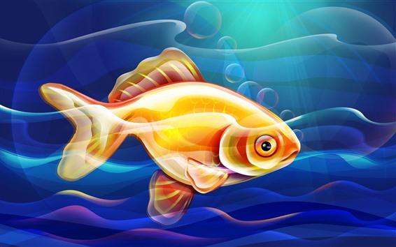 Wallpaper Goldfish, underwater, vector picture