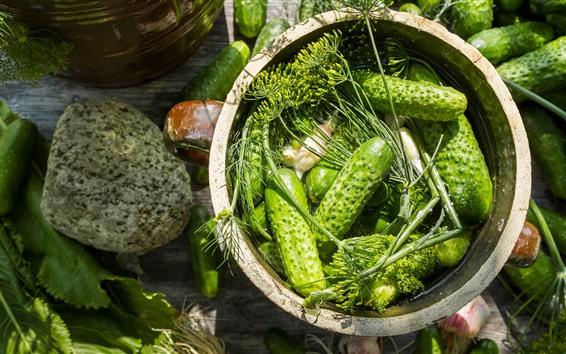 Hintergrundbilder Grüne Gurken, Gemüse