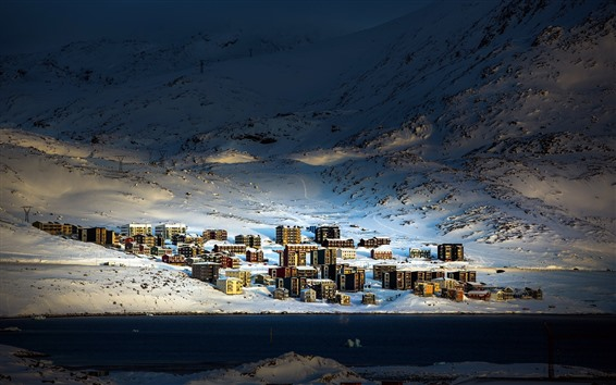 Wallpaper Greenland, arctic, snow, houses