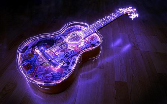 Fond d'écran Guitare, néon, image créative