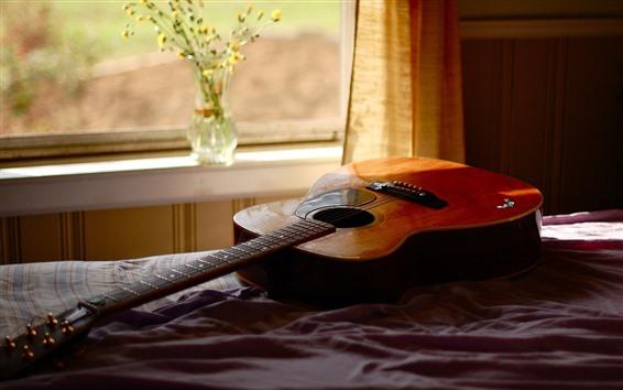 Fond d'écran Guitare, fenêtre, lit