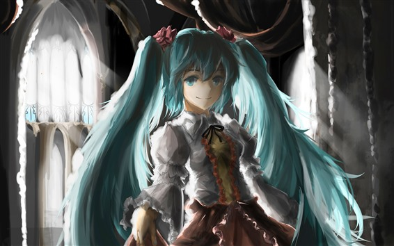 Fondos de pantalla Hatsune Miku, blue hair anime girl y art painting