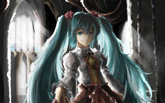 배경 화면 하츠네 미쿠, 파란 머리 애니메이션 소녀, 예술 그림