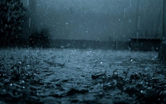 Wallpaper Heavy rain, water drops, dark