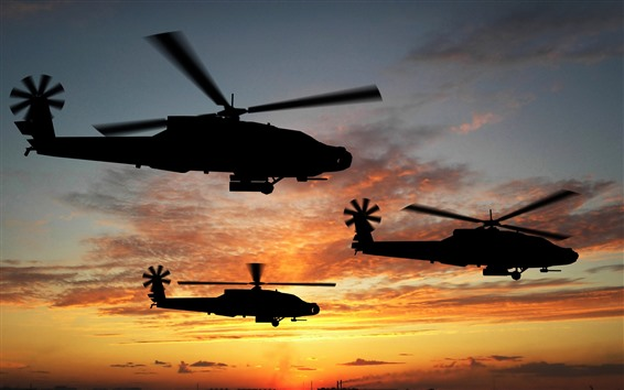 Wallpaper Helicopter, silhouette, sky, sunset