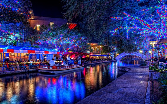 Wallpaper Holiday, beautiful lights, trees, river, boat