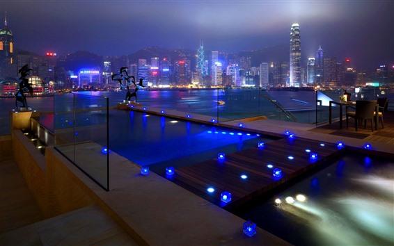 Wallpaper Hong Kong, city, skyscrapers, night, lights, river, pool