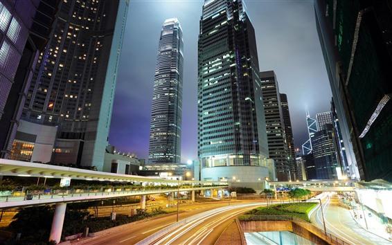 배경 화면 홍콩, 밤, 고층 빌딩, 조명, 도로, 도시