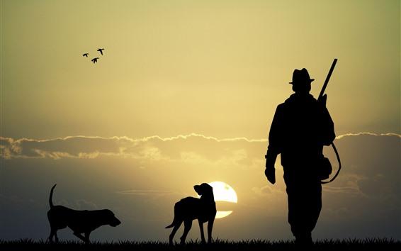 Обои Охотник, собаки, силуэт