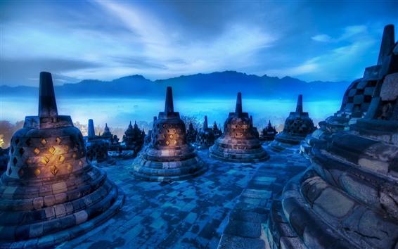 Обои Индия, ночь, горы, башня