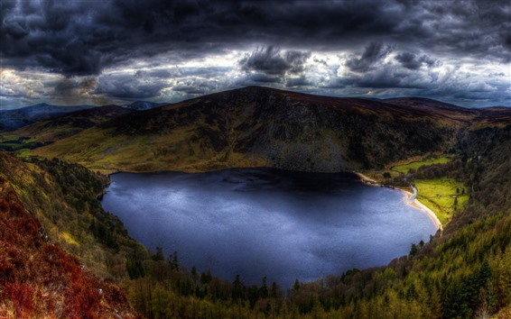 Wallpaper Ireland, lake, mountains, thick clouds, storm