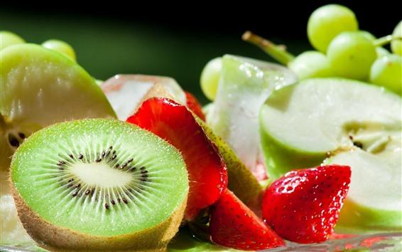 Wallpaper Kiwi, strawberries, apple, grapes, fruit