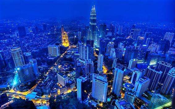 Fond d'écran Kuala Lumpur, Malaisie, nuit, gratte-ciel, lumières, ville