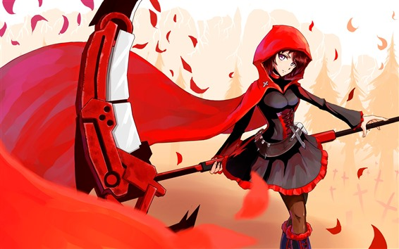 Wallpaper Little Red Riding Hood, anime girl