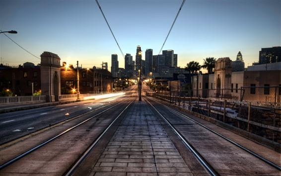 Обои Лос-Анджелес, город, ночь, железная дорога