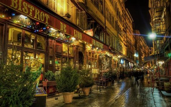 Papéis de Parede Lyon, noite, rua, loja, luzes, França