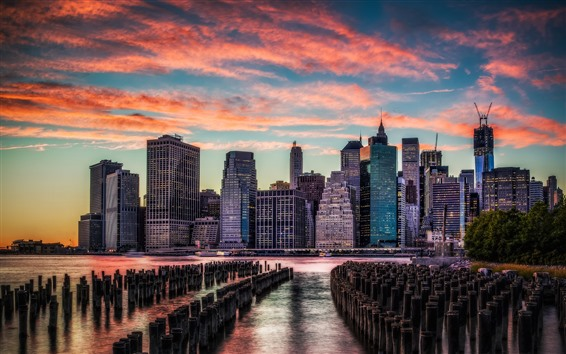 Wallpaper Manhattan, sunset, river, stump, skyscrapers, clouds