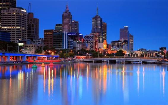 Papéis de Parede Melbourne, cidade à noite, luzes, rio, edifícios, Austrália