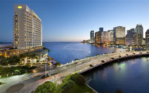 Papéis de Parede Miami, cidade, crepúsculo, ponte, rio, luzes, EUA