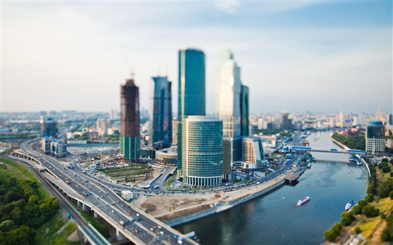 Wallpaper Moscow, city, skyscrapers, river, bridge, Russia