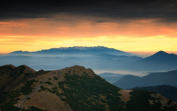 Wallpaper Mountains, sunset, sky, fog, nature landscape