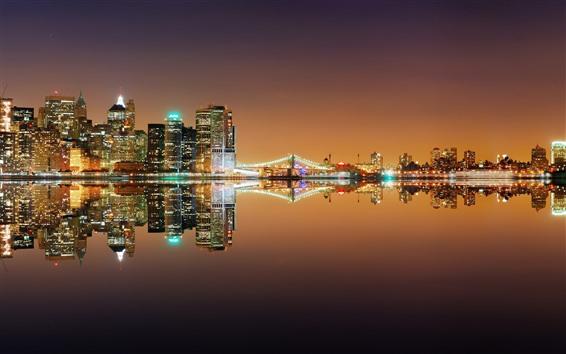 Fond d'écran New York, rivière, pont, lumières, nuit, reflet de l'eau, USA