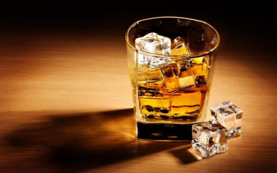 Wallpaper One cup of whisky, ice cubes