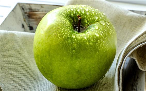 Wallpaper One green apple, water droplets