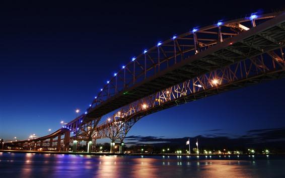 Обои Онтарио, Канада, мост, огни, река, ночь, город