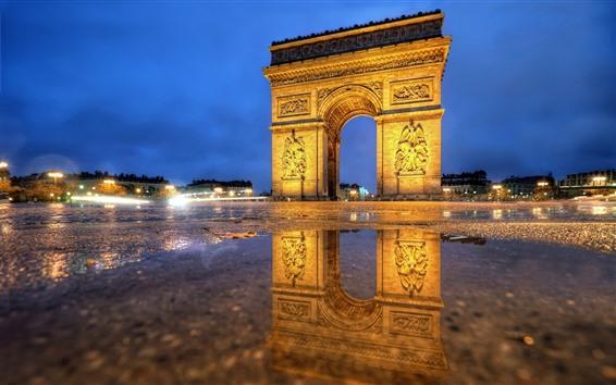 Fond d'écran Paris, Arc de Triomphe, nuit, lumières