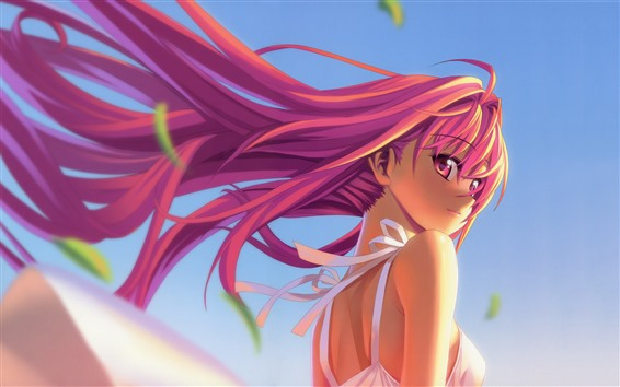Wallpaper Pink long hair anime girl, look back