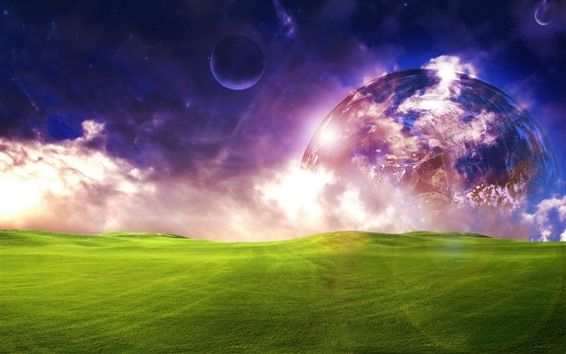 Wallpaper Planets, green meadow, dream world