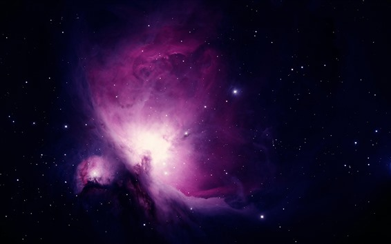 Wallpaper Purple nebula, stars, beautiful universe