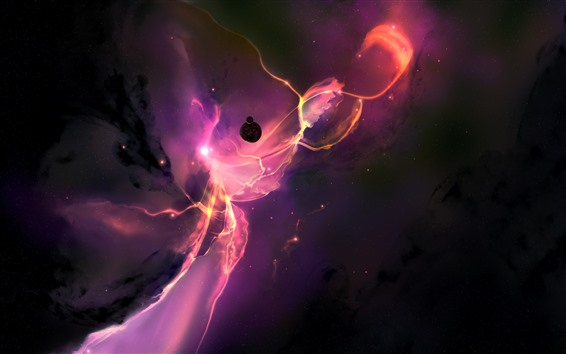 Wallpaper Purple space, planets, stars, creative picture