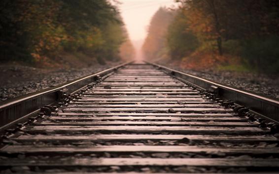 Wallpaper Railroad, track, rocks, hazy